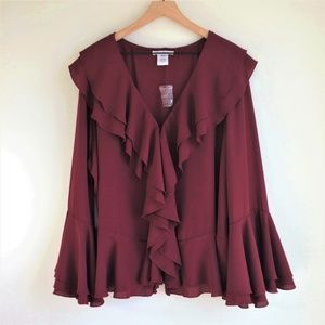 NWOT K. Jordan Double Ruffle V-neck Blouse Plus 3X